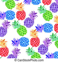 ananas fluorescenti  fondo bianco - ananas frutto tropicale