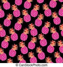 stoffa fondo nero ananas rosa fuorescenti - ananas, a...