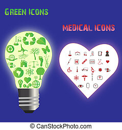 Image of various eco-friendly green and medical icons.