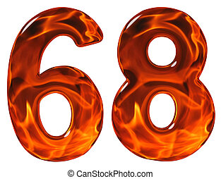 68, sixty eight, numeral, imitation glass and a blazing...