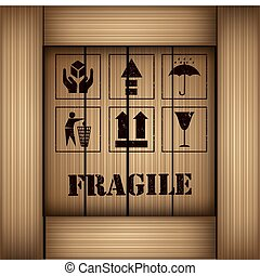Safety fragile sticker icon set vector illustration
