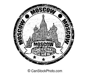 Moscow Stamp - Black grunge rubber stamp with the Saint...