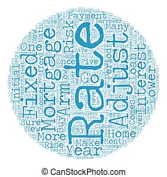 Types of Mortgages Available text background wordcloud...