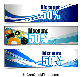 Abstract discount banners on different themes,...