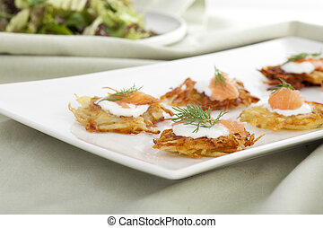 Creative Appetizers - Bite sized potato rosti appetizer...