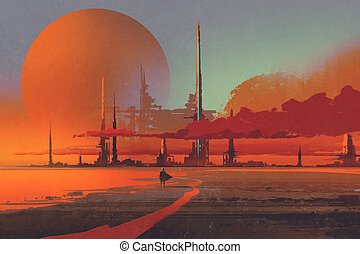 sci-fi contruction in the desert,illustration digital...