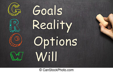 Conceptual GROW acronym written on black chalkboard blackboard. goals, reality, options, will. life coaching motivation.