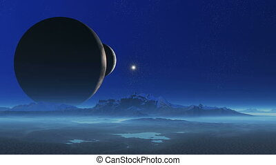 Two Moons in the Blue Magic World - Two huge planet lit a...