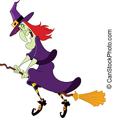Witch - Cartoon witch flying on her broomstick