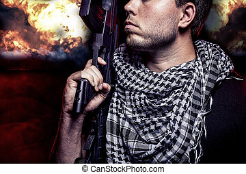 Fiery Nuclear Warzone - Soldier with a gun surviving bombs...