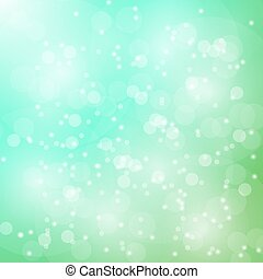 Vector abstract bokeh blur green background. Festive...