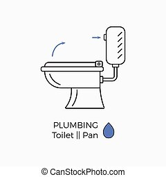 Toilet vector icon with schematic instructional arrows. WC...
