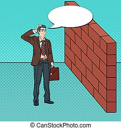 Pop Art Doubtful Businessman Standing in Front of a Brick...