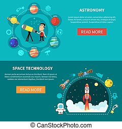 Space Banners Set - Space horizontal banners set with...