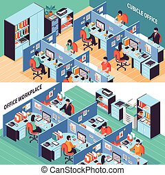 People In Office Cubicles Isometric Banners - Two open space...