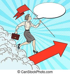 Pop Art Successful Business Woman with Flag Running to the Top. Vector illustration