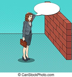 Pop Art Doubtful Business Woman Standing in Front of a Brick...