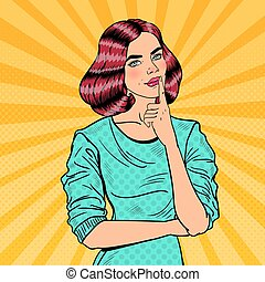 Pop Art Young Beautiful Woman Thinking. Vector illustration