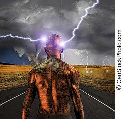 Tin Man - Electronic man faces storm