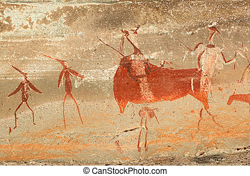 Bushmen rock painting - Bushmen (san) rock painting of...