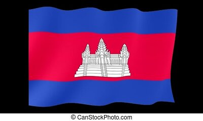 Cambodian flag . Waving