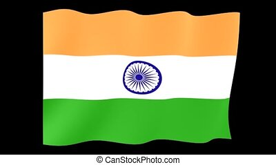 Indian flag. Waving. - Flag animation for using in foto's en...