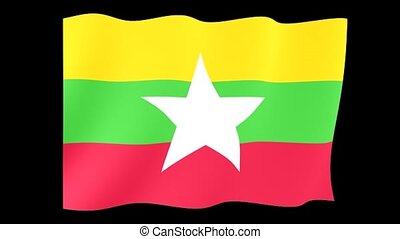 Myanmar (Burma) flag . Waving - Flag animation Useful for...