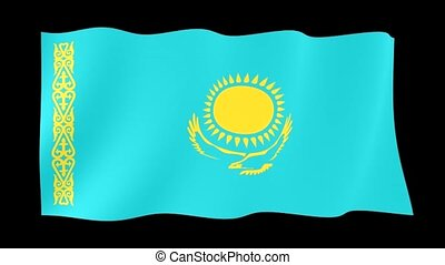 Kazakhstan flag . Waving