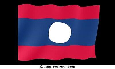 Laotian flag. Waving - Flag animation Useful for editors....