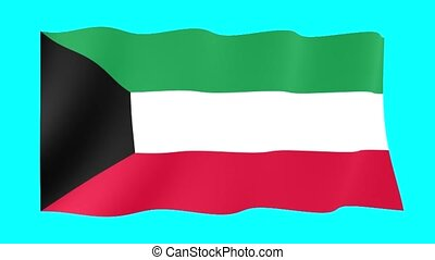 Kuwaiti flag . Waving - Flag animation Background deleted...