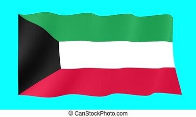 Kuwaiti flag . Waving - Flag animation Background deleted...