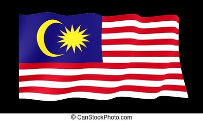 Malaysian flag . Waving - Flag animation Background deleted...