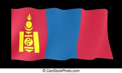 Mongolian flag. Waving - Flag animation Useful for editors....