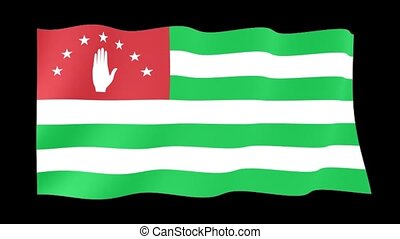 Flag of Abkhazia. Waving flag