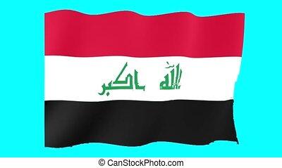 Iraqi flag . Waving .