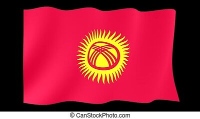 Kirgyzstan flag . Waving - Flag animation for using in...
