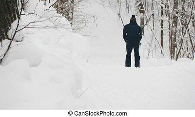 Winter Sport - skier slides in snow forest