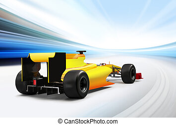 formula one car driving at high speed in empty road - motion...