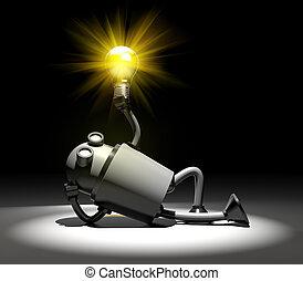 Robot with lightbulb. I have idea metaphor. 3d illustration
