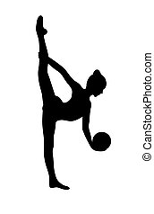 Silhouette of girl doing rhytmic gymnastics exercises with ball. Isolated