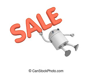 Robot with word sale. 3d illustration