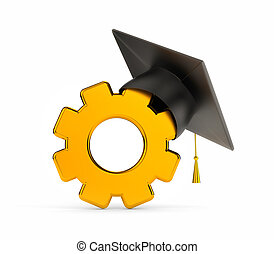 Gold Gear and graduation cap. 3d illustration
