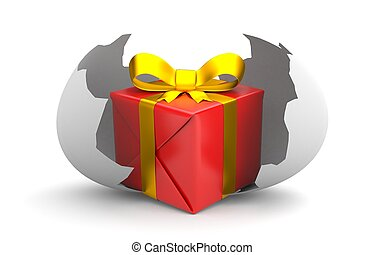 Gift-box in the broken chicken egg. 3d illustration