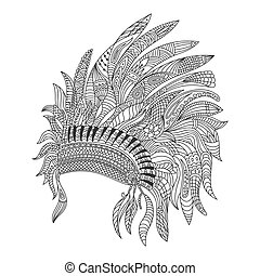 Vector monochrome hand drawn zentagle illustration of Indian...