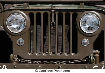 Jeep Grill - Closeup of military jeep grill and headlights