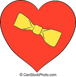 Valentine red heart with yellow bow on white background of vector illustrations