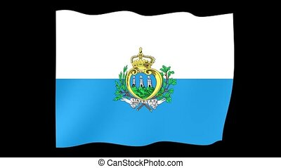 San Marinese flag . Waving PNG. - Flag animation for using...
