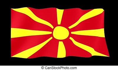 Macedonian flag . Waving - Flag animation for using in...