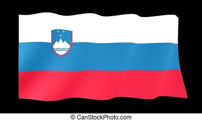 Slovenian flag . Waving - Flag animation for using in foto's...