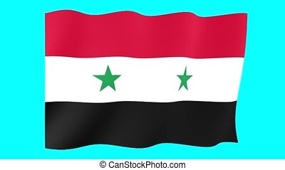 Syrian flag . Waving